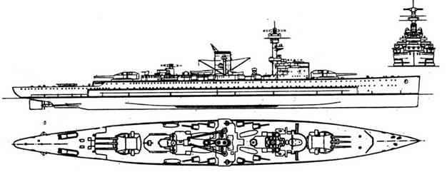 """Броненосец """"Дойчланд"""" (1933 г., 11700 т, 26 уз., 6 283/54,5, 8 150/55, 3 88-мм зен., 4x2 ТА, броня борта 60, башен 140, барбетов 100 мм) – первый из трёх построенных кораблей этого типа, с которых началось возрождение Кригсмарине"""