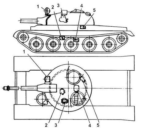 Размещение аппаратуры комплекса 9K116-I в танке: