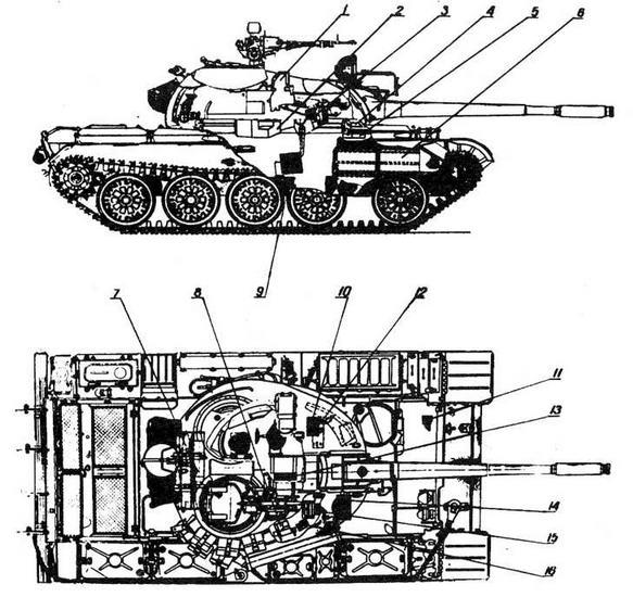 Танк Т-55, оснащенный комплексом управляемого вооружения: