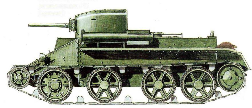 Легкий танк БТ-2 с двумя пусковыми установками PC (проект)