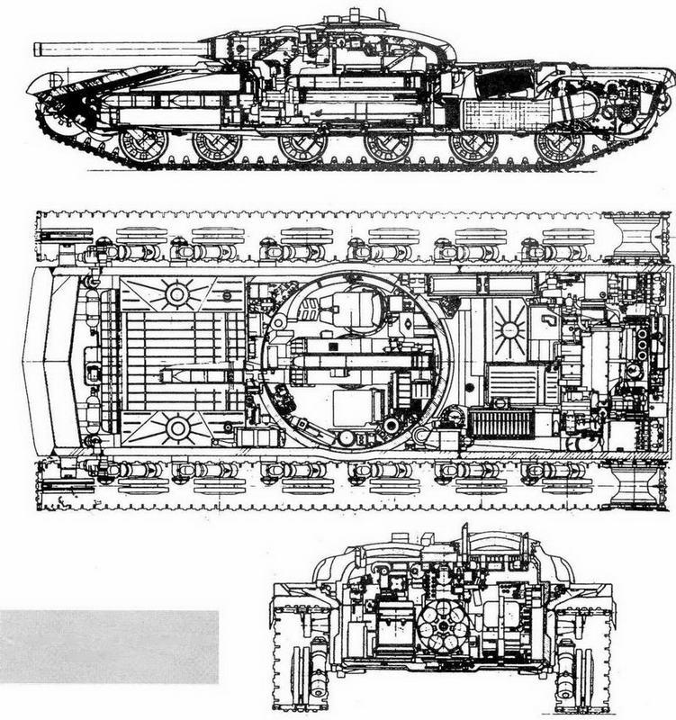 """Разрезы ракетного танка """"объект 775"""" Проект;"""
