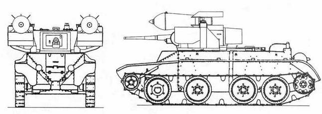 Опытный танк РБТ-5 е 250-кг танковой торпедой ТТ