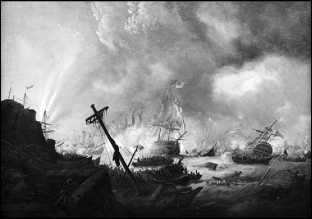 Первая Дарданелльская операция британского флота 1807. Адмирал сэр Джон Дакуорт прорывается через пролив Дарданеллы. Картина Филиппа Джеймса де Лютербурга.
