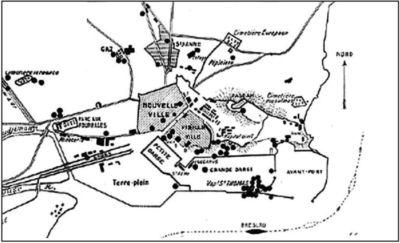 Схема обстрела порта Бон крейсером «Бреслау». Черными точками отмечены места падения снарядов.