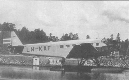 Г'идроплан Ju-52/3m ge (LN-KAF, Werk Nr. 589) норвежской авиакомпании Det Norske Luftfarlselskap (DNL) эксплуатировался на местных линиях до 1956г.