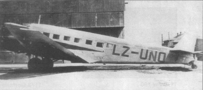 Болгарские войска захватили Ju-52/3m g7e (LZ-UNO) у немцев в качестве трофея в конце Второй мировой войны. До лета 1949г. самолет состоял на вооружении ВВС Болгарии, затем был передан в авиакомпанию Bulgarian Airlanes. До начала 50-л; годов самолет эксплуатировался на местных линиях. Руль направления окрашен в цвета болгарского цвета.