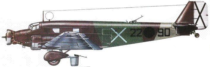 Ju-52/3m g3e (22–90) из 1 го стаффеля KG 88 легиона «Кондор». В начале 1937г. самолеты Ju-52/3m легиона «Кондор» базировались в Севилье.