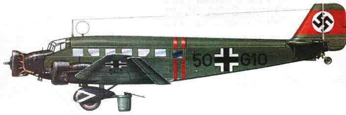 Вокруг фюзеляжа Ju-52/3m g3e (50+G10) накрашены две узкие полоски красного цвета — отличительный знак самолетов, задействованных в присоединении Австрии к Рейху 13 марта 1938г.
