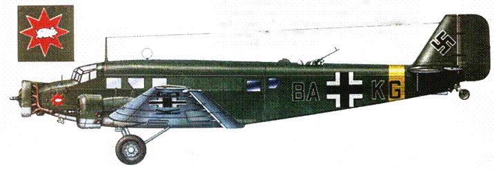 BA+KG — Ju-52/3m g5e (trop) из TG 3, 1942г. 3 я транспортная группа люфтваффе действовала в годы войны на Средиземноморье и на Восточном фронте. Перед верхней стрелковой точкой установлен воздухозаборник для вентиляции гермокабины три окна в борту фюзеляжа зашиты металлическими листами.