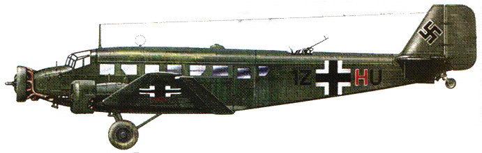 Ju-52/3m g7e (trop) (IZ-HU) из KGzbV-1, Северная Африка, 1942–1943г.г. Тропические модификации Ju-52/3m имели в средней части фюзеляжа на крыше воздухозаборники для вентиляции кабин.