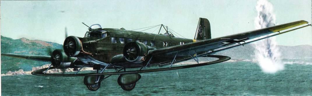 Ju-52/3m MS летит над Дунаем, Венгрия, лето 1944г. Шесть таких тральщиков было направлено в Венгрию после того, как британцы стали сбрасывать в Дунай магнитные мины.