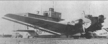 Ju-52/3m (ОВ-ННС, HUADOY, Werk Nr. 5272) авиакомпании Lufthansa Sucursal еп Peru сфотографирован на перуанском аэродроме в 1940г. Это одна из двух машин, переданных в 1940г. из Люфтганзы Перу. Второй самолет — ОВ-ННА, HUASCARAN, Werk Nr. 5060 — припаркован рядом с первым (на снимке видная часть фюзеляжа с регистрационный кодом). В марте 1941г. правительство Перу под давлением США реквизировала оба самолета.
