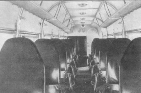 Военные варианты самолетов Ju-52/3m g3e при переоборудовании в штабные снабжались двумя рядами относительно комфортабельных кресел в грузовой кабине, всего устанавливалось 12 кресел. Обратите внимание на проволочные полки для багажа.
