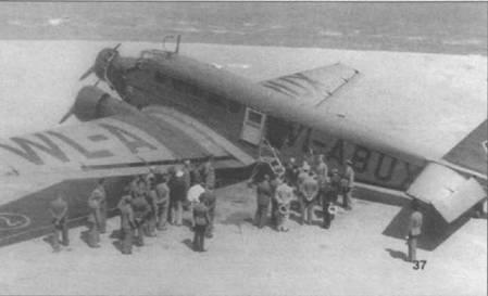 Ju-52/3m g3e (WL-ABUX) на будапештском аэродроме Будаёрс, Венгрия, 1939г. Скорее всего, машина целиком окрашена серо-зеленой краской (RLM-63), маркировка — черная. Префикс «WL» (Wermacht Lufftwaffe) на самолетах люфтваффе второй линии с января 1939г. был заменен литерой «О».