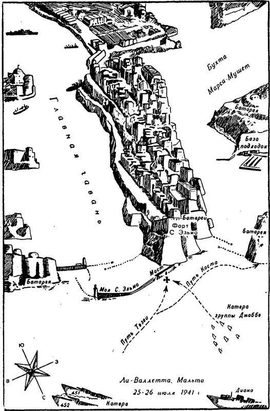 Схема атаки бухты Ла-Валлетта.