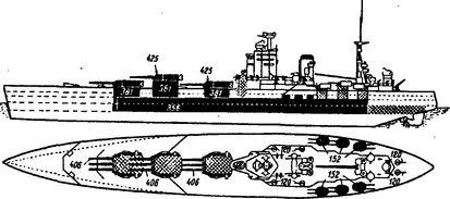 Схема бронирования и расположения <a href='https://arsenal-info.ru/b/book/1036139503/129' target='_self'>артиллерии</a> на английском линкоре «Нельсон».
