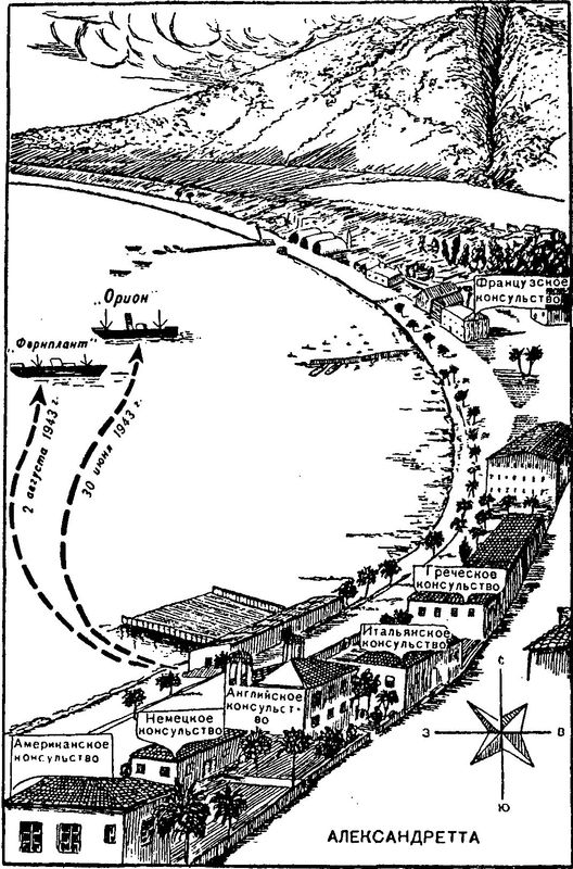 Диверсии Ферраро в порту Александретта.