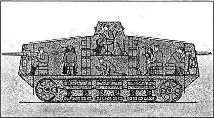 Размещение экипажа в немецком танке A7V.