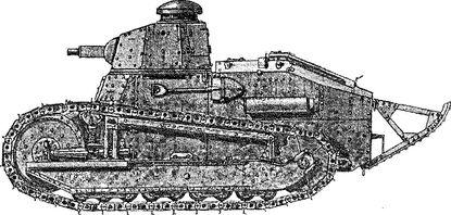 Французский танк «Рено» — первый танк классической компоновки.