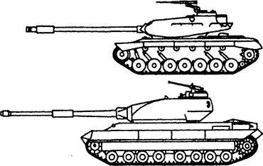 Американский танк М103 и английский «Конкерор» (внизу).