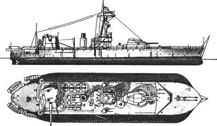Монитор «Генерал Волф» с дополнительным 457-мм орудием.