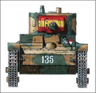 Легкий танк Т-26В. Вооруженные силы франкистов: 3-я рота 2-го батальона Agrupacion de Carros de Combate. Каталония. 1938г.