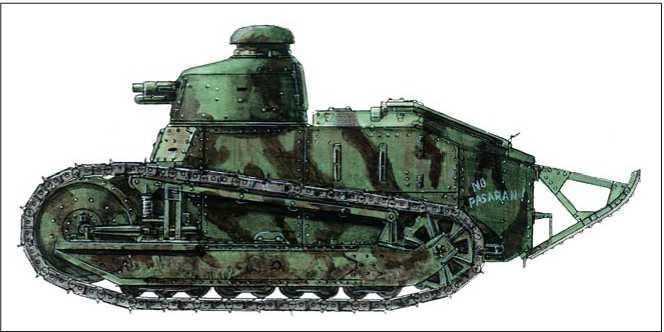 Легкий танк «Рено» FT-17. Республиканские вооруженные силы, интербригада. Мадрид. 1936г.
