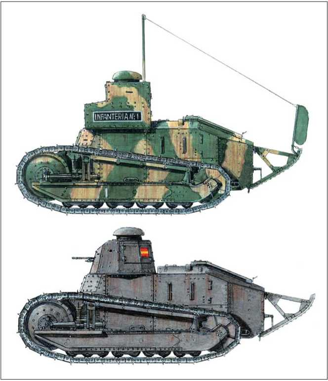 Командирский танк FT-17 TSF. Вооруженные силы франкистов. 1936г.