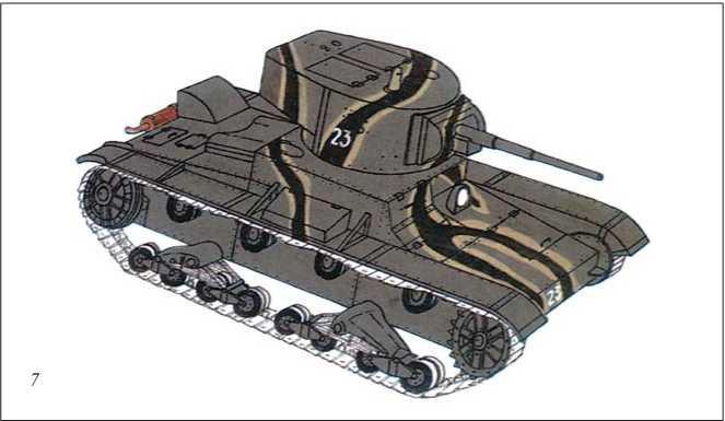 Встречались среди республиканских Т-26 и машины, камуфляж которых состоял из полос коричневого цвета с более светлой обводкой по краям. Основной фон — насыщенный зеленый цвет (форест грин), принятый в Красной Армии.