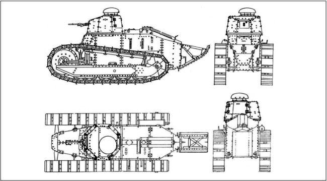 Легкий танк Рено FT-17 с клепаной башней и пулеметом 8 мм. Франция.