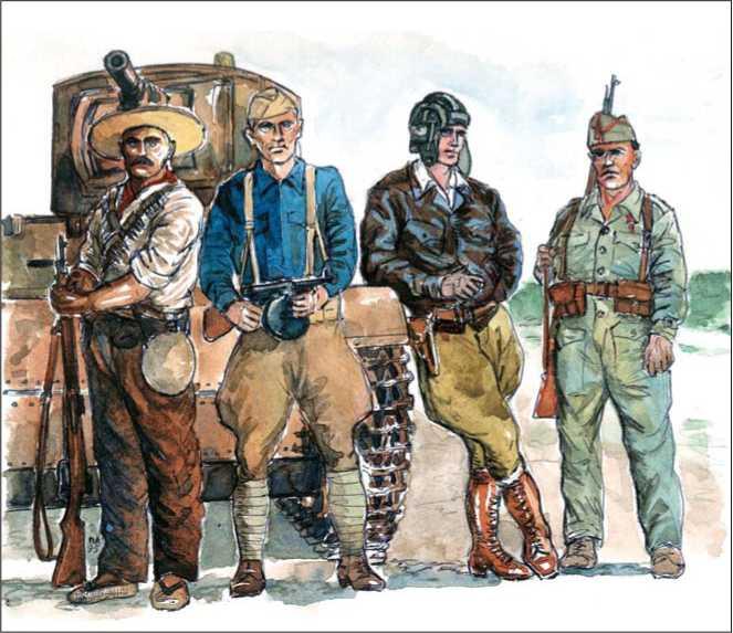 РЕСПУБЛИКАНЦЫ (слева направо): андалусийский милисиано с винтовкой «Манлихер»; американский доброволец из батальона им. Линкольна с <a href='https://arsenal-info.ru/b/book/643295886/4' target='_self'>пистолетом-пулеметом</a> «Томпсон»; танкисто русо у танка Т-26; капрал 5-го полка в комбинезоне-моно.