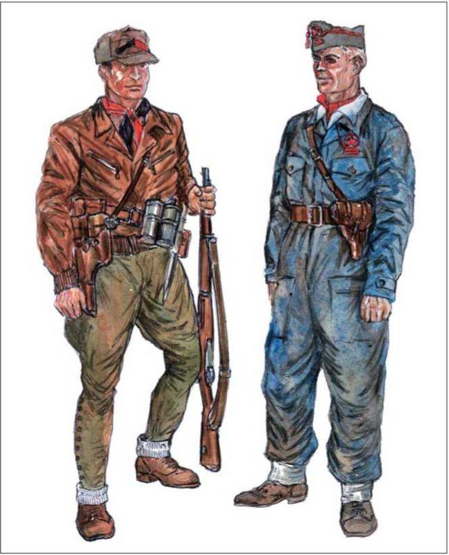 РЕСПУБЛИКАНЦЫ: анархист в кожанке и солдатских бриджах, вооруженный винтовкой «Маузер», пистолетом «Астра» в колодке и двумя бомбами; комиссар в пилотке и в комбинезоне-моно, вооруженный «Длинным Браунингом».