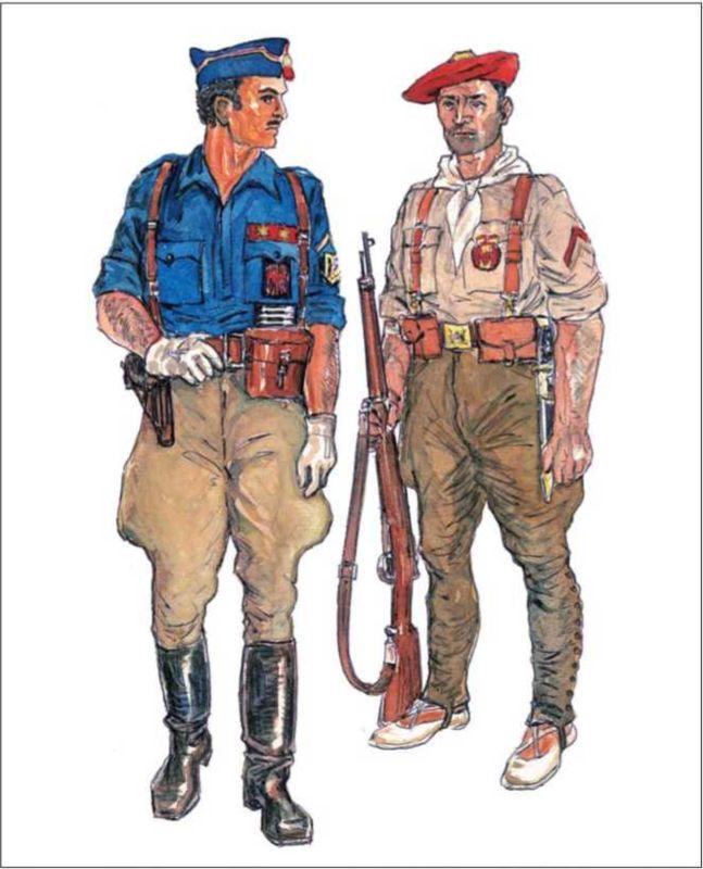 ФРАНКИСТЫ: лейтенант, командир роты милиции «Испанской фаланги» в парадной форме с пистолетом «Астра-600» и полевым биноклем; капрал милиции андалусийских «Рекете» в полевой форме и армейском снаряжении с винтовкой «Маузер» 1893г.