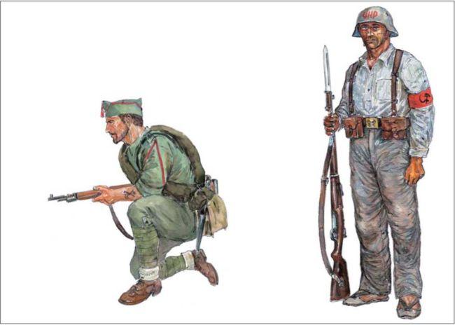 ФРАНКИСТЫ: легионер 1-го класса в летней полевой форме с карабином «Маузер» 1898г. и облегченной <a href='https://wm-help.net/lib/b/book/3061515169/63' target='_blank' rel='external'>выкладке</a>.