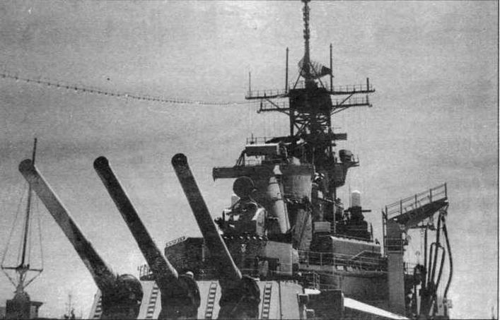 "Вид на кормовую надстройку линкора ""Миссури"" после модернизации (фото из архива Ю.М.Шедякова)."