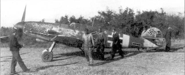 На этом Bf 109F часто летал ведомый командира II./JG-52 Йоханнеса Штейнхофа унтерофицер Ганс Вальдман. Руль направления поврежден зенитным огнем, снимок сентября 1942г.