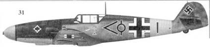 31.Bf. 109F-2 «черный шеврон и круг» лейтенанта Юргена Хардера. Gruppenstab III./JG-53, Соболева, июнь 1941г.