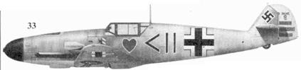 33.Bf 109G-2 «черные шеврон и круг» командира I./JG-54 гауптмана Ганса Филиппа. Сиверская. март 1942г.