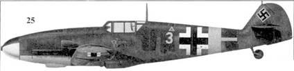 25.Bf. 109G-4 «желтая 3» унтерофицера 6./JG-52 Ганса Вальдмана, Анапа, июнь 1943г.