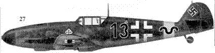 27.Bf. 109G-2 «черный 13» стаффелькапитана 8./JG-52 оберлейтенанта Гюнтера Ралля, Гостановка, август 1942г.