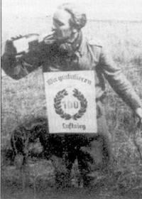 Каждая сотня побед давала право на получение специально изготовленного плаката и/или бутылку дармовой выпивки. Оберлейтенант Карл «Тути» Мюллер, командир 1./JG-53 получил и плакат, и бутылку, 19 сентября 1942г., Сталинградский фронт. Мюллер, как и Зитц, погиб в воздушном бою на западном фронте.