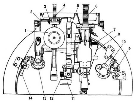 Схема установки вооружения (12,7-мм пулемет ДШК; 7,62-мм пулемет ДТ) в башне легких танков семейства Т-40.