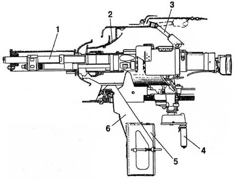 Схема установки в башнях танков Т-30 и Т-60 20-мм танковой версии авиационной артсистемы ШВАК – пушки ТНШ.