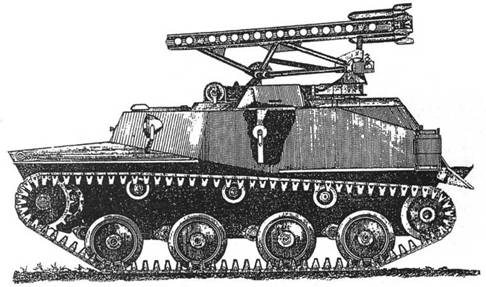 Схема монтажа реактивной установки БМ-8-24 на базе легкого танка Т-40С.
