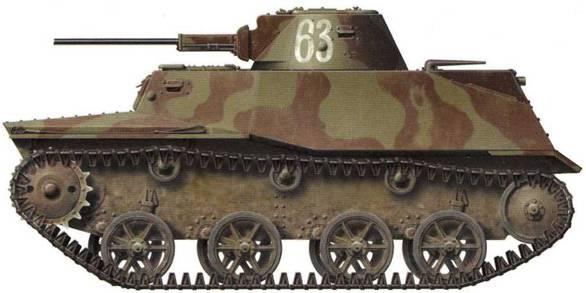 Легкий танк Т-30 с тактическим номером «63». Машина имеет трехцветный камуфляж, что характерно для Северо-Западного ТВ Д. Ленинградский фронт, 54-я армия, сентябрь 1941 года.