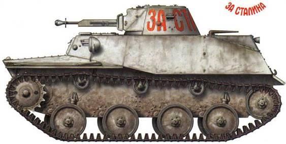 Легкий танк Т-40С, принадлежащий одной из бронетанковых частей Западного фронта. На башне красной краской сделана надпись: «За Сталина». Сам танк камуфлирован смывающейся побелкой. Предположительно 5-я армия, начало 1942 года.