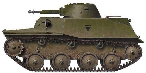 Легкий танк T-40C, имеющий на борту корпуса неизвестное тактическое обозначение, нанесенное черной краской. Сама боевая машина окрашена зеленой краской 4БО. Советско-германский фронт, первая половина 1942 года.