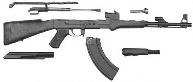 Неполная разборка 7,62-мм автомата Калашникова АК-47 мод. 2 КБП-580.