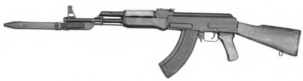 7.62-мм автомат Калашникова АКМ со штык-ножом 6x2 в ножнах. Выпуск 1953–1957гг.