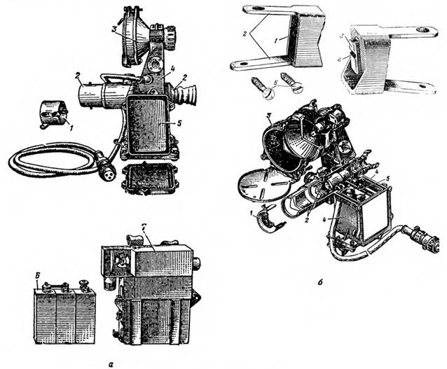 Прицел НСП-2: а — общий вид, б — разрез 1 — диафрагма; 2 — электронно-оптический прибор: 3 — инфракрасный прожектор: 4 — корпус прицела; 5 — высоковольтный преобразователь: 6 — аккумуляторная батарея 3CЦ-25:7 — футляр аккумуляторной батареи с низковольтным преобразователем.